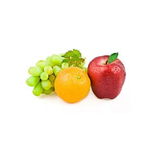 Apple, orange and grapes