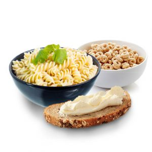 Bowl of cereal, bowl of pasta and slice of bread
