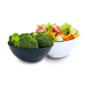 Small bowl of broccoli and small salad