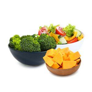 Broccoli, salad and summer squash
